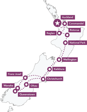 Map HakaPlus 20day NZ Tour 2019